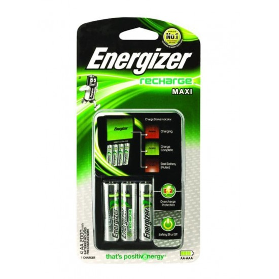 Energizer Maxi Charger With 4 AA Rechargable Batteries 2000Mah