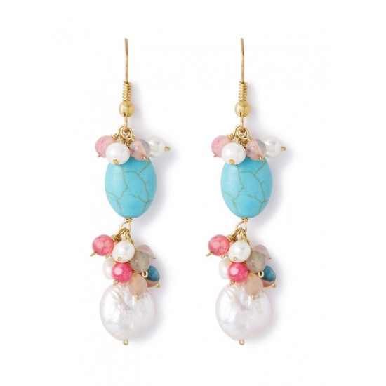 Bohemia Jewels Pearl Hook Earrings