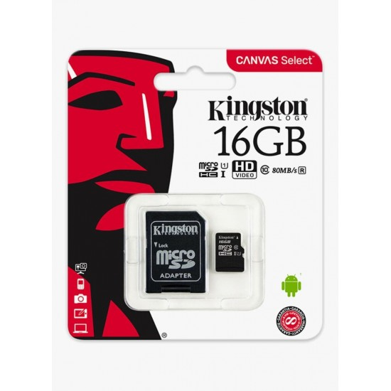 KINGSTON Micro SDHC Canvas Class 10 Memory Card With SD Adapter Black 32/16 GB
