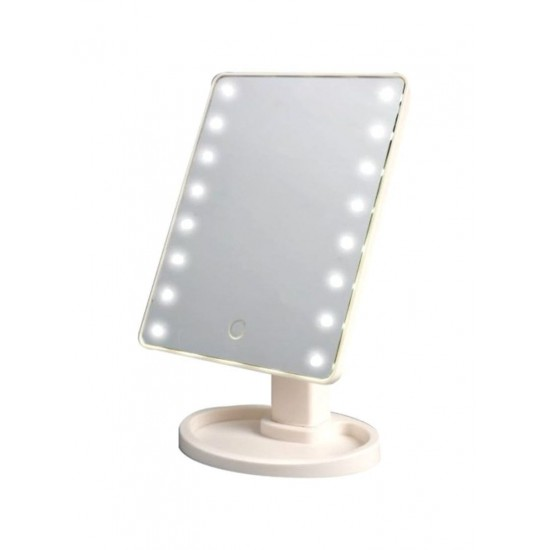 Cosmetic Mirror With 16 LED Light Beige