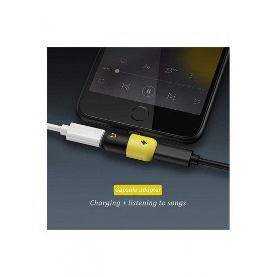 2 In 1 Lightning Splitter Adapter For iPhone 7 Yellow/Black