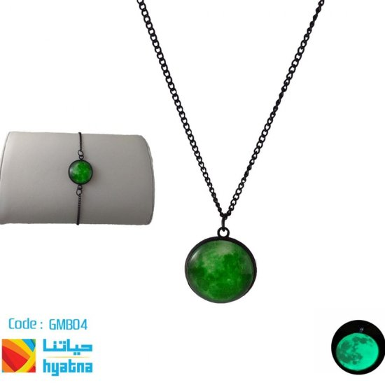 Glowing Moon Necklace And Bracelet - Black