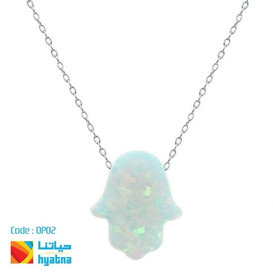 Opal Hamsa Luck Hand Necklace