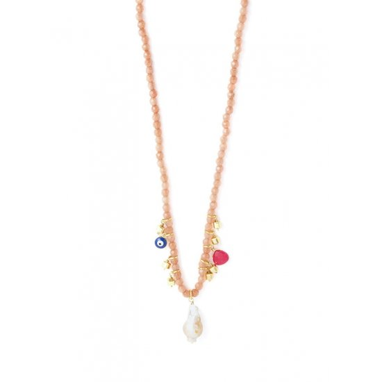 Freshwater Pearl Pendant & Charms Beaded Necklace