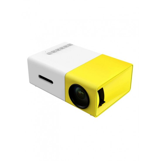 Docooler YG300 LED Projector 400 Lumens With USB/HD/AV/TF Card Slot/Mini Pocket Remote Controller For Smartphone/Laptop White/Yellow